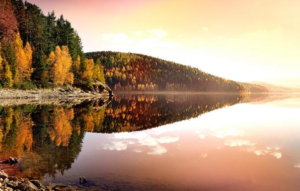Картинка осень, листья, вода, деревья, пейзаж, закат, природа, озеро, отражение, берег, вечер, желтые, Германия, Deutschland, Рудные …