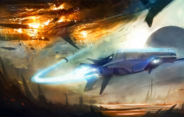 Картинка взрыв, скалы, след, планета, бой, Арт, летательный аппарат