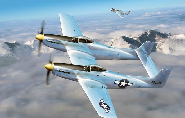 """Картинка небо, облака, рисунок, арт, истребители, P-51, самолёты, WW2, американские, многоцелевые, F-82, """"Мустанги"""""""