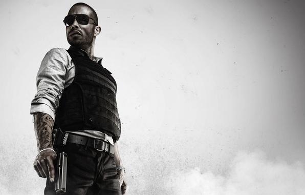 Картинка пистолет, оружие, дым, тату, очки, рубашка, police, бронежилет, Electronic Arts, полицейский, коп, Visceral Games, Battlefield …