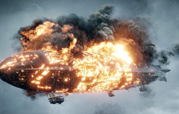 Картинка огонь, война, игра, цеппелин, горит, Electronic Arts, Battlefield 1