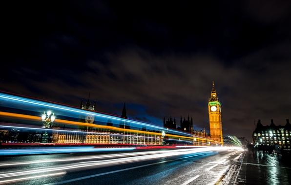 Фото обои дорога, свет, машины, ночь, мост, город, огни, люди, Англия, Лондон, выдержка, фонари, Великобритания, Биг-Бен, Вестминстерский ...