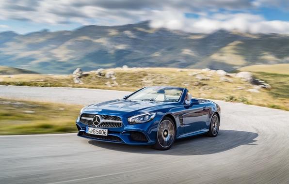 Картинка синий, Mercedes-Benz, кабриолет, мерседес, R231, SL-Class