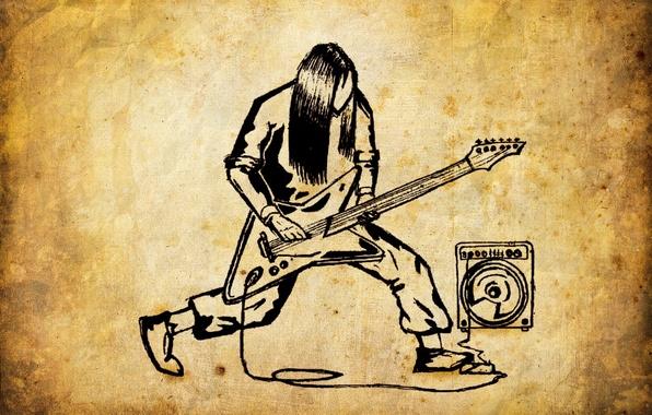 Картинка музыка, гитара, рисунки, динамик, metal, rock, метал, рок, старая бумага