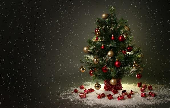 Картинка Праздник, ёлочка, новогодние игрушки, снежок
