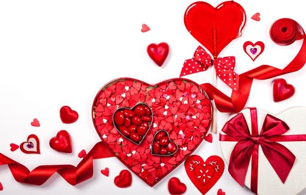 Картинка романтика, сердечки, love, rose, бант, heart, romantic, Valentine's Day