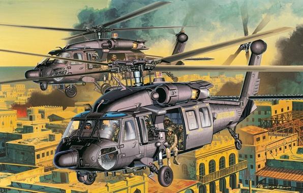 Картинка город, рисунок, вертолеты, арт, улицы, helicopter, ударные, американские, AH-60, солдаты специального назначения