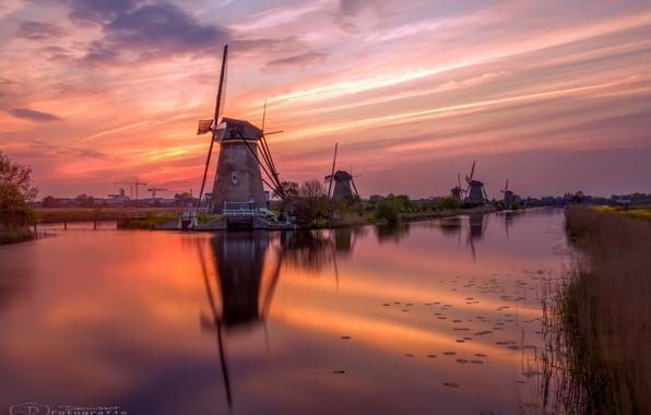 Картинка вода, река, вечер, канал, Нидерланды, Голландия, ветряные мельницы