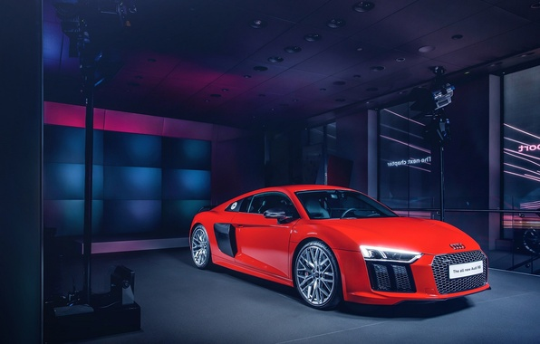 Картинка Audi, Red, Front, New, Supercar, Wheels, 2015