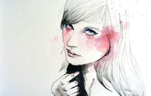 Картинка девушка, лицо, краски, рисунок, рука, арт