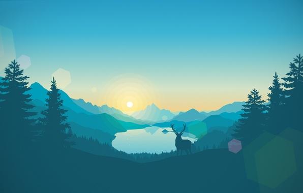 Картинка Природа, Горы, Лес, Пейзаж, Game, Firewatch