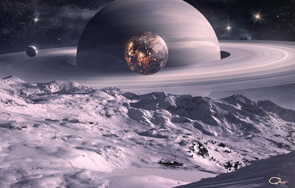 Картинка космос, поверхность, снег, деревья, ландшафт, луна, планеты, спутник, кольца, арт, QAuZ