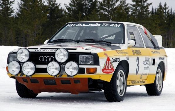 Картинка лес, Audi, фары, Ауди, sport, quattro, ралли, передок, группа Б, Group B, rally car, кватро