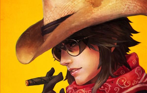 Картинка девушка, шляпа, очки, сигара, ковбой, fan art, casual, overwatch, McCree
