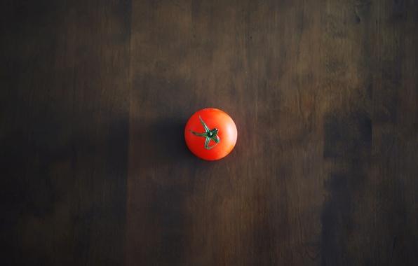 Картинка красный, стол, фон, обои, тень, минимализм, помидор