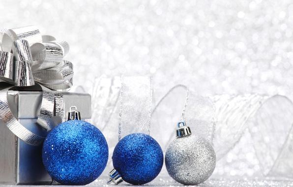Картинка зима, шарики, праздник, коробка, подарок, Новый Год, Рождество, лента, Christmas, синие, New Year