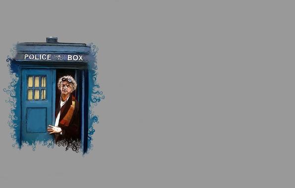 Картинка шарф, очки, пародия, будка, серый фон, Doctor Who, полицейская, Доктор Кто, ТАРДИС, TARDIS, Back to ...