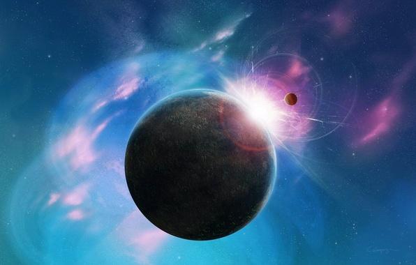 Картинка космос, звезды, розовый, голубой, планета, space, stars