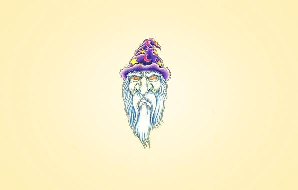 Картинка фиолетовый, звезда, минимализм, месяц, голова, колпак, волшебник, Мерлин, борода белая, гипноз глаза