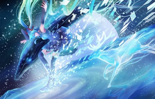 Картинка животные, девушка, улыбка, аниме, олень, арт, кит, рога, vocaloid, hatsune miku, mr. j.w