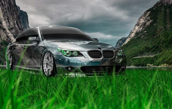 Картинка Природа, Авто, Горы, BMW, Машина, Тюнинг, БМВ, Обои, Nature, Креатив, Grass, Photoshop, Green, Style, Беха, …