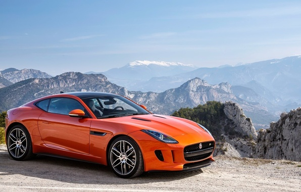 Картинка jaguar, coupe, orange, f type