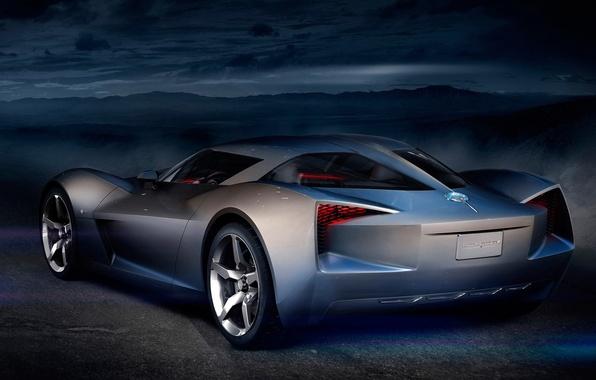 Картинка Concept, ночь, Corvette, Chevrolet, Stingray