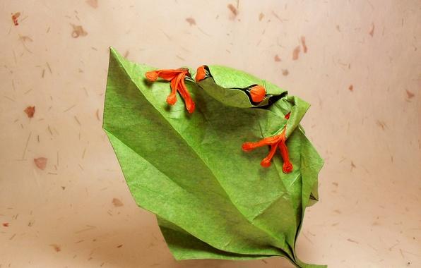Картинка глаза, листья, зеленый, green, лягушка, оригами, frog, eyes, leaf, origami, подняться, climb