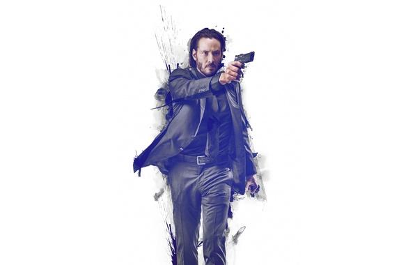 Картинка пистолет, краски, костюм, белый фон, Киану Ривз, Keanu Reeves, John Wick, Джон Уик
