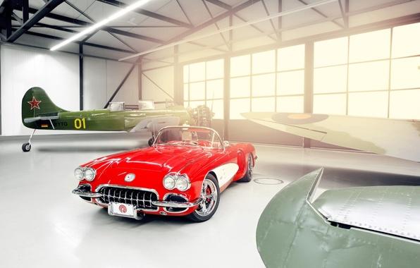 Картинка свет, красный, тюнинг, окна, Corvette, Chevrolet, ангар, шевроле, диски, классика, tuning, передок, самолёты, кастом, корвет, …