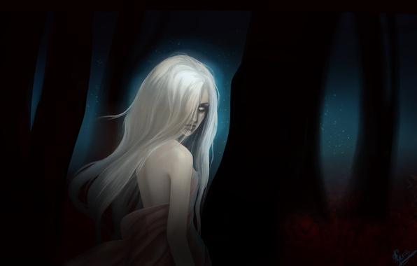 Картинка лес, взгляд, листья, девушка, ночь, фантастика, волосы, демон, арт, белые глаза, деревоья