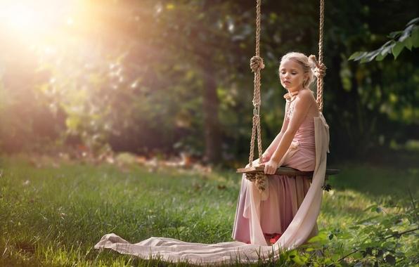 Обои лето, солнце, качели, платье, девочка, Serenity