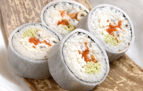 Картинка макро, еда, рыба, рис, икра, food, 1920x1200, macro, sushi, суши, fish, fish eggs, роллы, rice