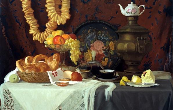 Картинка чай, яблоки, масло, картина, арт, виноград, художник, ваза, фрукты, натюрморт, живопись, самовар, холст, груши, выпечка, …