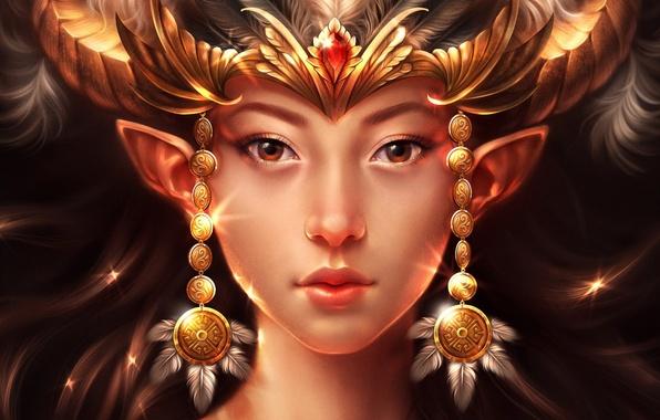 Картинка девушка, украшения, лицо, перья, фэнтези, арт, рога, ушки