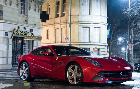 Картинка ночь, красный, улица, здания, Ferrari, red, феррари, night, street, building, f12, berlinetta, берлинетта