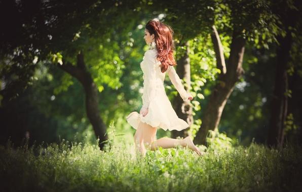 Картинка зелень, трава, девушка, деревья, природа, фон, дерево, обои, настроения, женщина, размытие, платье, бег, wallpaper, рыжая, …
