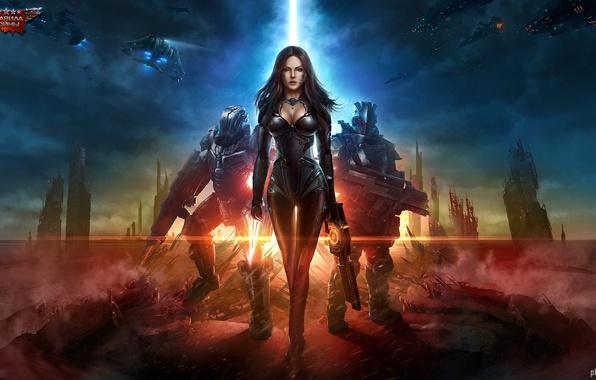 Картинка девушка, город, оружие, корабли, арт, солдаты, броня, руины, Total Domination