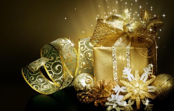 Картинка зима, шарики, снежинки, коробка, подарок, игрушки, Новый Год, Рождество, лента, декорации, бант, Christmas, шишки, праздники, …