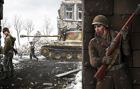 Картинка зима, снег, город, война, ссср, танк, немцы, русский, солтаны