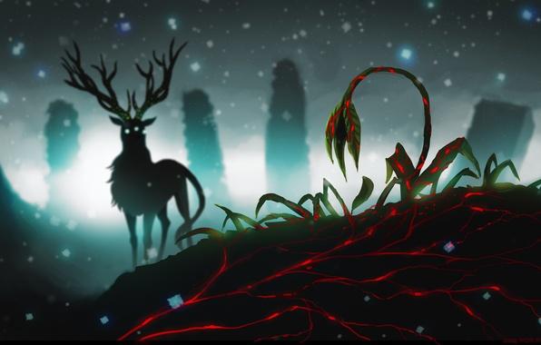 Картинка цветок, снег, ночь, животное, мрак, здание, олень, силуэт, арт, рога, руины, романтика апокалипсиса, romantically apocalyptic, …