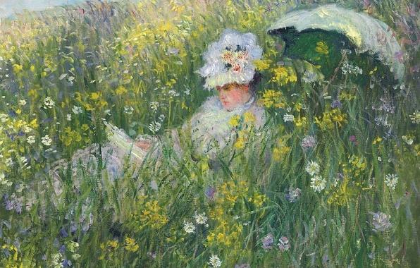 Картинка трава, девушка, цветы, природа, картина, зонт, Клод Моне, На Лугу