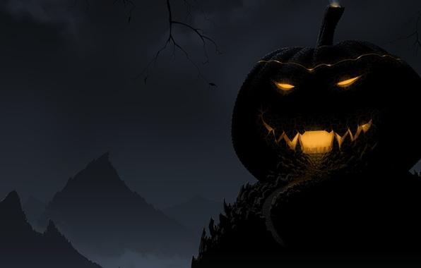 Картинка свет, ночь, улыбка, мрак, Halloween, тыква, хэллоуин, night, pumpkin