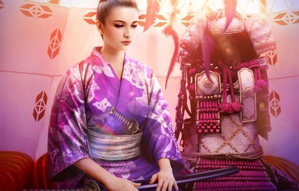 Картинка девушка, меч, катана, арт, броня, кимоно, mario wibisono, legend of the five rings, utaku chikako
