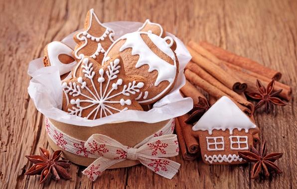 Картинка елка, шарик, Новый Год, печенье, Рождество, сладости, домик, корица, Christmas, фигурки, снежинка, выпечка, праздники, New …