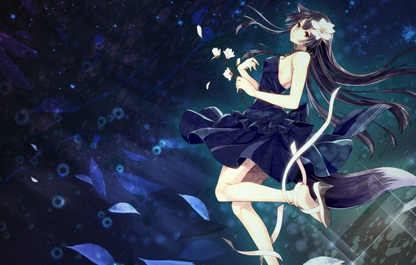 Картинка девушка, цветы, аниме, лепестки, арт, лента, ушки, toudou charo