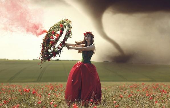 Картинка поле, девушка, торнадо, венок