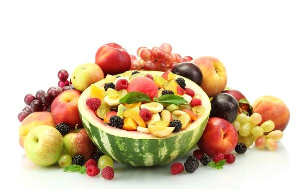 Картинка ягоды, малина, яблоки, арбуз, виноград, бананы, фрукты, персики, сливы
