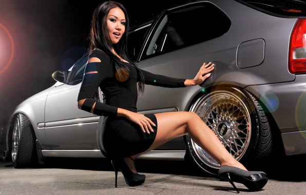 Bmw Girl Wallpaper By Jokensy: Обои взгляд, девушка, Девушки, BMW, платье, диски, серый