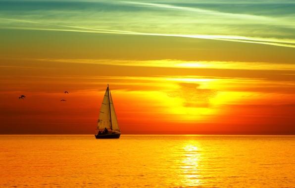 Картинка море, закат, яхта, парус, ярко